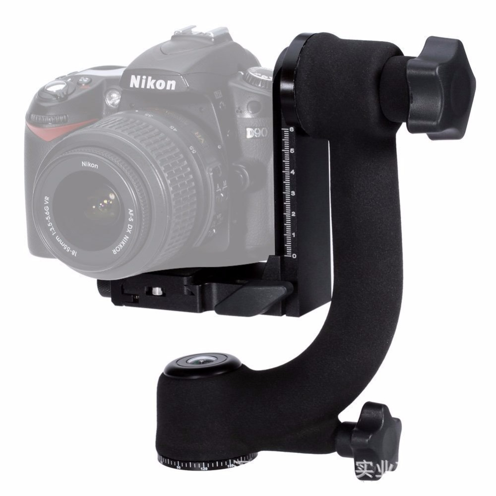 360 Degree Panoramic Gimbal Tripod Head with Panorama Ball Head Quick Release Plate for Nikon Canon Sony Digital SLR Cameras vertical l type bracket tripod quick release plate base perfect for nikon d300 d700 with battery grip mb d10 pt090