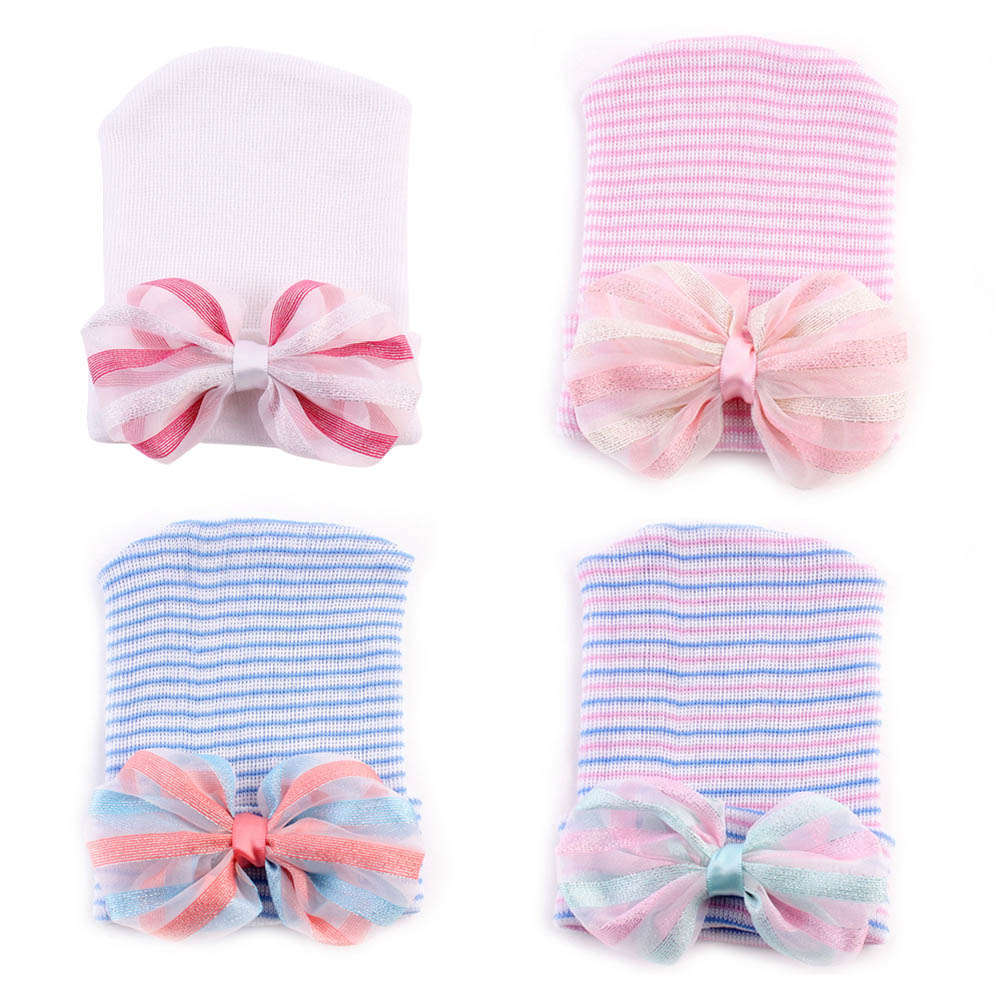 0-6 Months Newborn Hat Lovely Baby Girl Cotton Beanie With Bow Infant Soft Knit Striped Caps Baby Toddler Hat Accessories