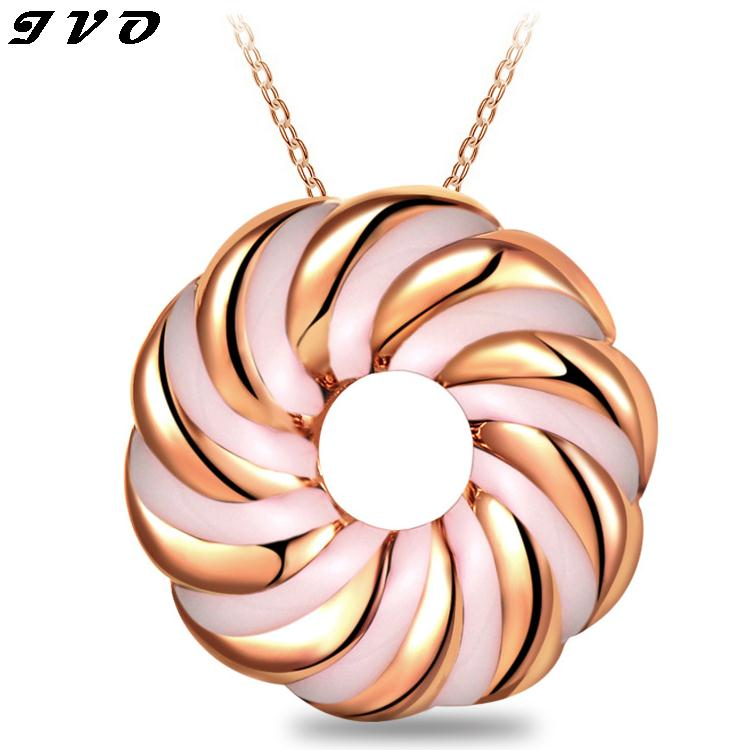 Fine Wedding Necklace For font b Women b font Round Gold color Costume Jewelry Crystal Maxi