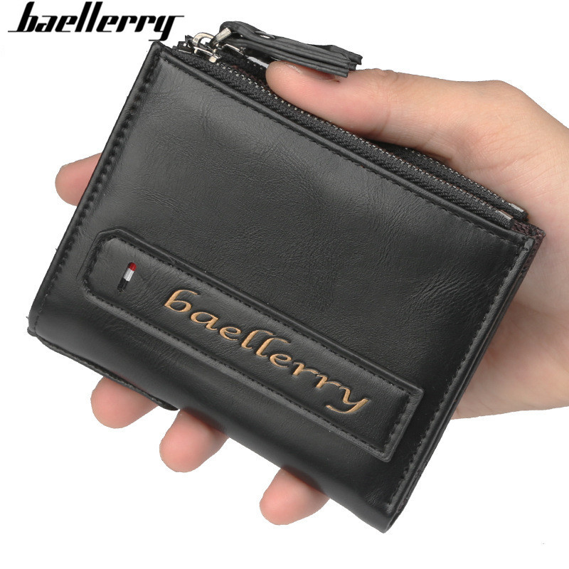 Hot!! baellerry Men Wallets Credit Business Card Holders fashion Double Zipper Leather Wallet vintage short Purse Carteira baellerry vintage ultra slim wallets men leather cards holders purse male brand small wallet casual purses carteira masculina