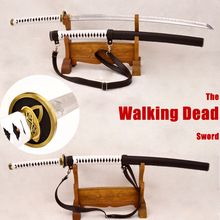 Handmade Japanese Samurai Walking Dead Sword Zombie Michonne s Sharp Katana Clay Tempered Damascus Steel 1095