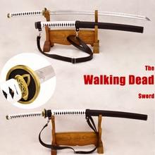 Handmade Japanese Samurai Walking Dead Sword Zombie Michonne's Sharp Katana Clay Tempered Damascus Steel+1095 Steel Kobuse Blade