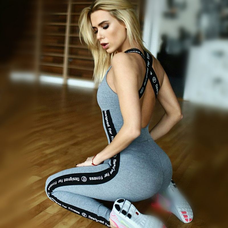 Workout Jumpsuit Women Fitness Outfit Female Work Out Clothes Dance Sportswear Bodysuit Backless Letter Purple Overall Hp0008 Extremely Efficient In Preserving Heat