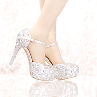 Silver Rhinestone Bridal Wedding Dress Shoes Ankle Straps Round Toe Bride Shoes Platform Formal Dress Shoes