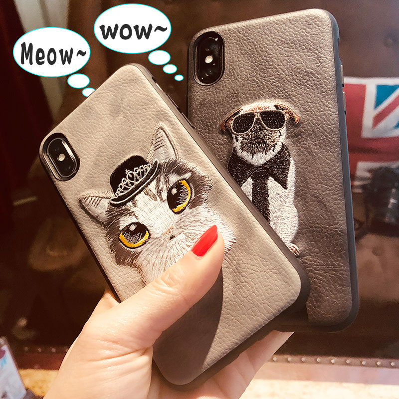 For iphone x case cute cats dogs for iphone x case cover matte leather soft silicone for iphone x case 3D embroidery craft 5.8
