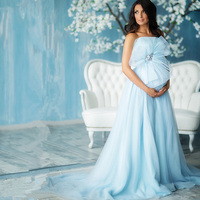 Pregnant Evening Dresses Princess With Bow Crystals Mint Evening Dress Gowns 2017 Bridal Gown Robe De