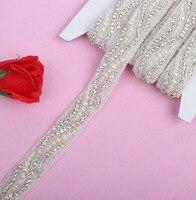 Bruids parel trimmings clear crystal rhinestone applique met parels lijm hotfix voor jurk gown jas schoenen accessoire