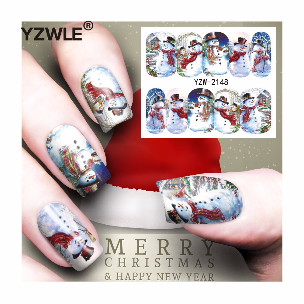 YZWLE 1 Sheet Christmas Design DIY Decals Nails Art Water Transfer Printing Stickers Accessories For Manicure Salon (YZW-2148) yzwle 1 sheet hot gold 3d nail art stickers diy nail decorations decals foils wraps manicure styling tools yzw 6015