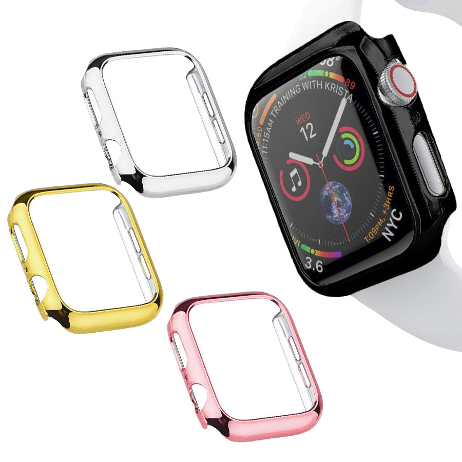 Plated PC Bumper Protector Cover For <font><b>Apple</b></font> <font><b>Watch</b></font> 44mm 40mm <font><b>Watch</b></font> Case Frame Accessories For iWatch Series 4 <font><b>3</b></font> 2 1 38mm <font><b>42mm</b></font> image