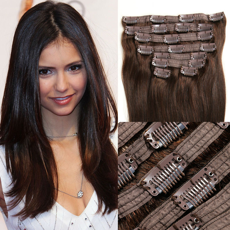 Ali Beauty Peruvian Virgin Hair Clip In Human Hair Extensions Real Hair Extensions Clip in 10pcs Brown Vrai Cheveux Clip Deals