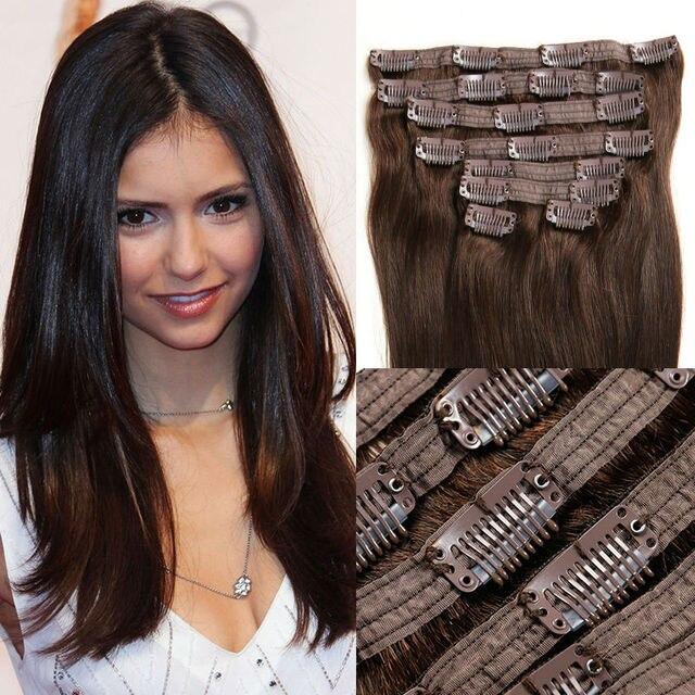 Ali Belleza Peruana Virgen Del Pelo Clip En Extensiones de Cabello Humano Clip en Extensiones de Cabello Real 10 unids Marrón Vrai Cheveux Pinza ofertas