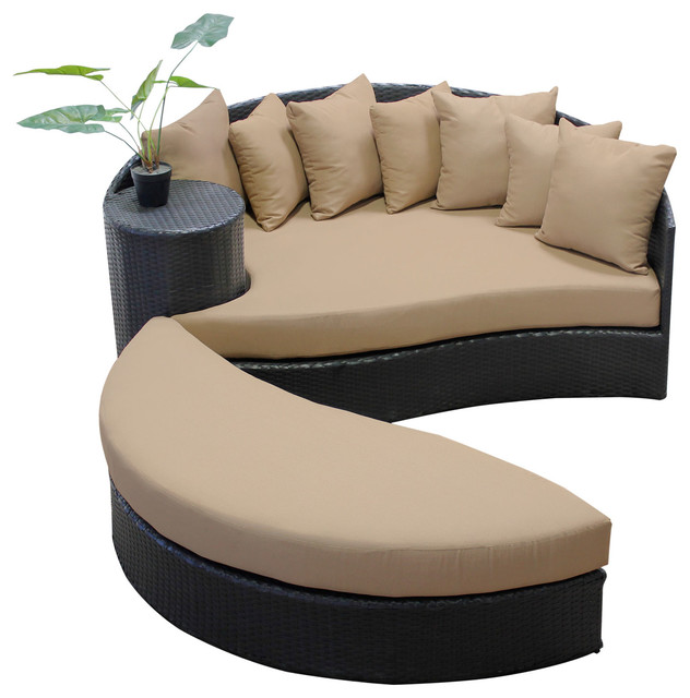 2017 All Weather Rattan Furniture Outdoor Wicker Patio Round Sun Bed Ottoman