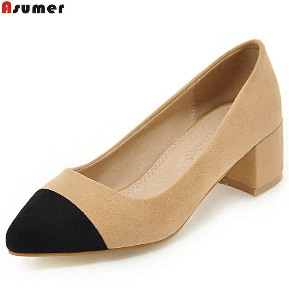 ASUMER apricot black pointed toe shallow fashion spring shoes woman square heel mixed colors women high heels shoes size 46 meifeier 407 fashion chiffon top for women apricot size m