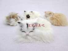 Simulation white cat polyethylene&furs cat model funny gift about 12cmx12cmx5cm