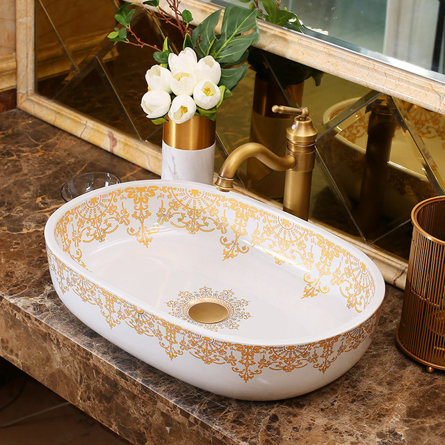 Oval Countertop Lavobo Ceramic Bathroom Bowl Sink Wash Basin ...