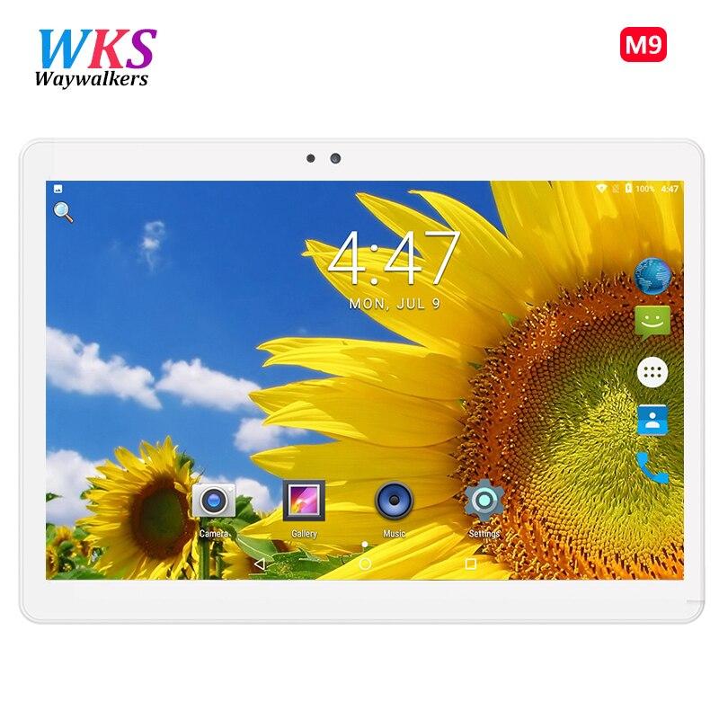 WKS 2018 новый 10,1 дюймов Восьмиядерный 3g Tablet PC 4 ГБ Оперативная память 64 ГБ Встроенная память 1920X1200 двойной камер Android 7,0 Планшеты 10,1 WI-FI Dual SIM