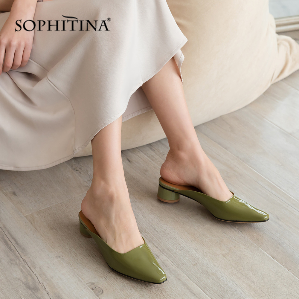 SOPHITINA Med Round Heel Mules Pumps High Quality Cow Leather Pointed Toe Casual Slip On Shoes