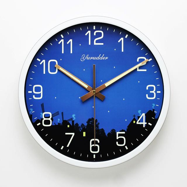 Newest 12 Inches Night Star Design Metal Frame Modern Fashion Round Wall Clock LUMINOVA Decorative Wall clock