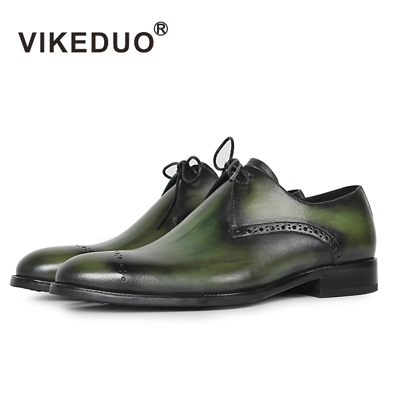 Vikeduo 2019 Designer Handmade Fashion Shoes Luxury Wedding Party Genuine Leather Green Derby Brogue Dress Shoes