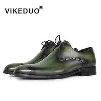 Vikeduo/2018 дизайнерская модная обувь ручной работы, роскошные свадебные вечерние туфли из натуральной кожи, зеленые туфли Дерби с перфорацией