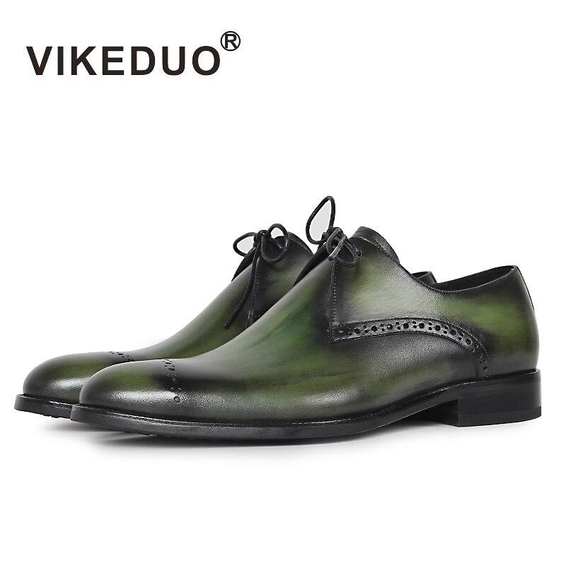 Vikeduo 2019 Designer Handgemachte Mode Schuhe Luxus Hochzeit Partei Echte Leder Grün Derby Brogue Kleid Schuhe Männer Schuhe-in Formelle Schuhe aus Schuhe bei  Gruppe 1