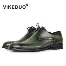Vikeduo 2019 Designer Handmade Fashion Shoes Luxury Wedding Party Genuine Leather Green Derby Brogue Dress Men Footwear