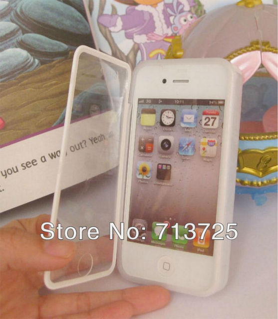 for Iphone 4 Touch screen dual hard case cover, TPU + transparent Flip Cover Pouch case for Iphone 4S, 10pc/slot free shipping
