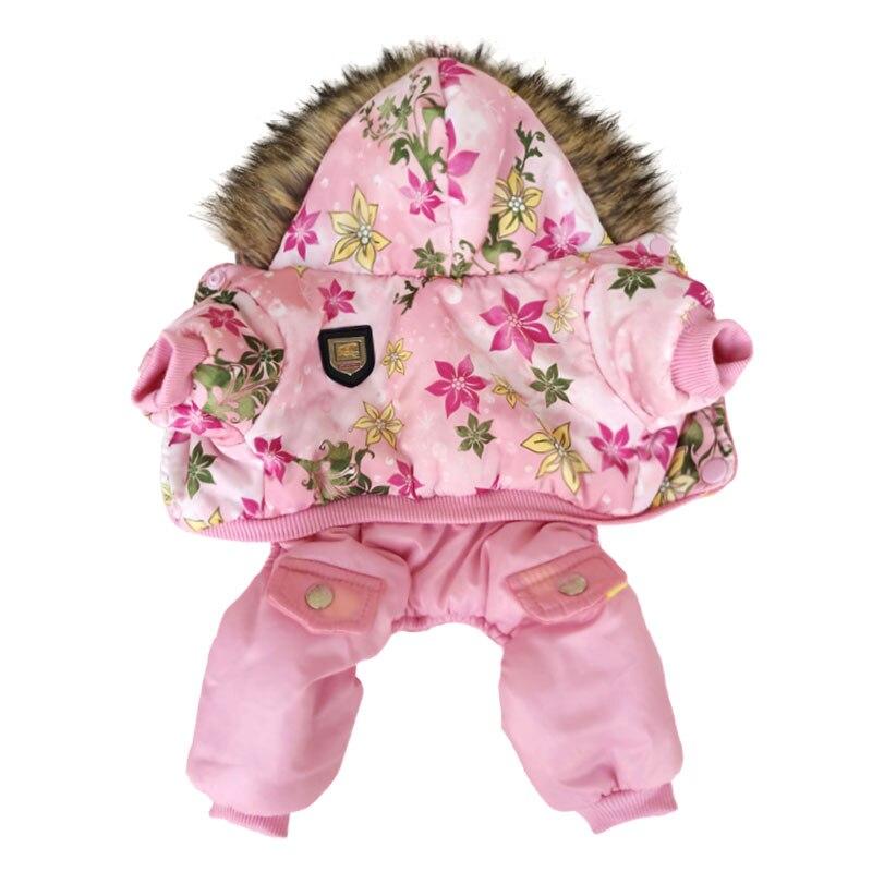 Qualidade popular padrão de flor com capuz pet cães inverno casaco espessura cães roupas s para xl novos cães roupas