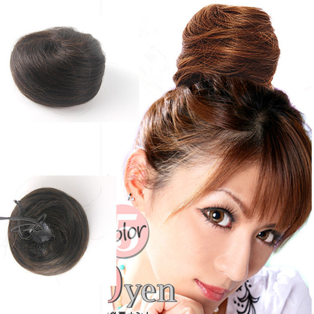 Good Quality Womens Clip In Real Hair Extensions Scrunchie Black