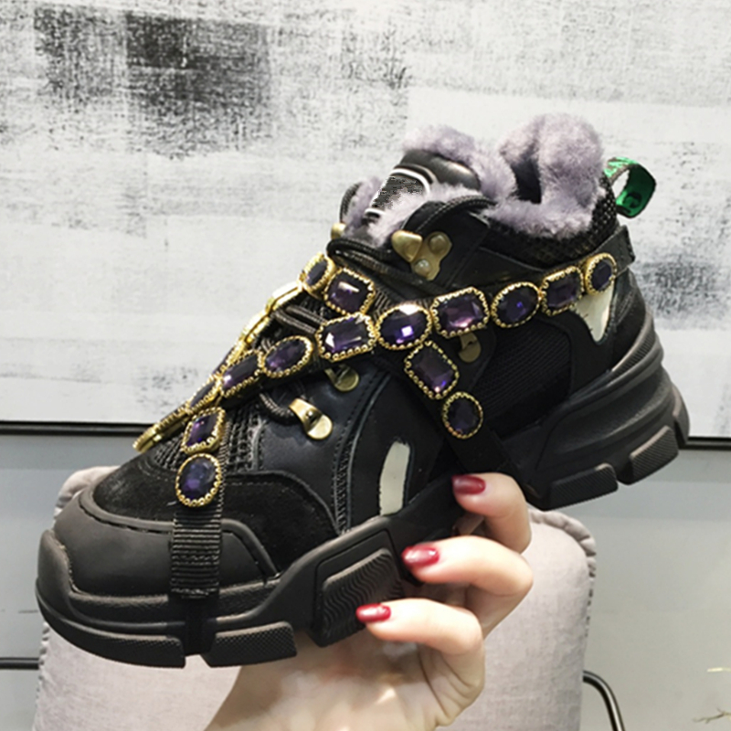 Luxury Brand Fur Winter Handmade Crystal Embellished Mixed Colors Platforms Shoes Lace Up Ultra Sneakers Pre-order Shoes Woman real fur winter shoes women mixed colors thick platforms shoes 2018 lace up ultra women sneakers mesh leather casual women shoes