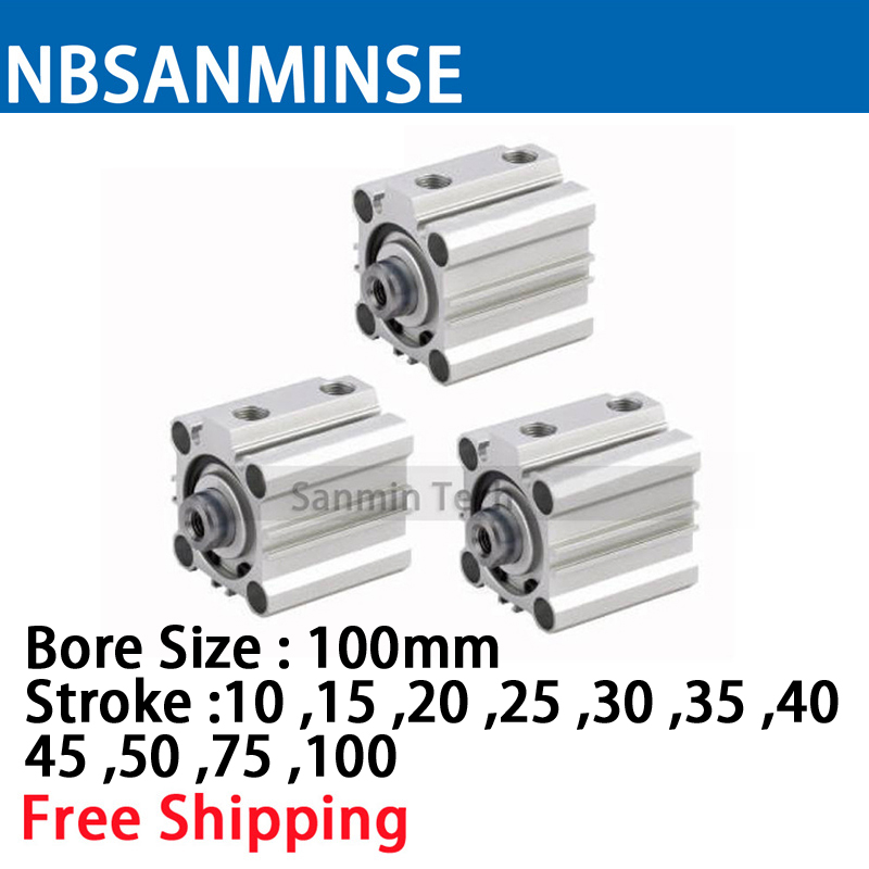 CQ2B 100mm Bore Size Compact Cylinde SMC Type Double Acting Single Rod Pneumatic ISO Compact Cylinder High Quality Sanmin high quality double acting pneumatic gripper mhy2 25d smc type 180 degree angular style air cylinder aluminium clamps