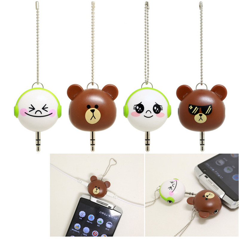 Cute Brown Bear 3.5mm Dual Jack Earphone Audio Splitter Adapter to Earphone for iPhone 6 6s MP3 Player Splitter Adapter Gift 3pcs 3 5mm plug audio jack 3pole gold plated earphone adapter for diy stereo headset earphone or used for repair earphone