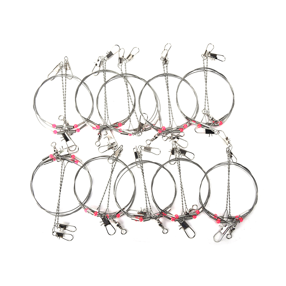 20pcs Fishing Connector Wire Trace Leader Rig 2 Arm