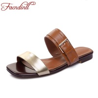 FACNDINLL Summer Woman Slippers Genuine Leather Low Heels Casual Date Patchwork Shoes Ladies Buckle Date Woman