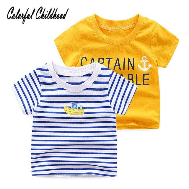 1703571d34 Blue white stripe sailor style Boy/girls shirt cotton short-sleeve T-shirt  kids casual tops children clothes 2-10Yrs
