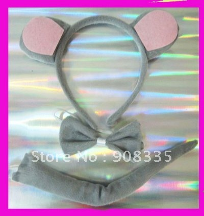 2012 new design party headband set gray mouse headband,bow tail cosplay party costume holiday gift