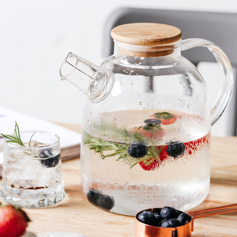إبريق شاي زجاجي شفاف كبير 1L/1.5L مقاوم للحرارة وعاء شاي شفاف كبير طقم شاي زهور Puer غلاية أداة منزلية للمكتب