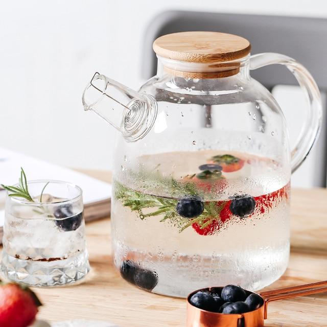 Tetera grande de cristal de borosilicato transparente, 1L/1,5 l, resistente al calor, grande, transparente, juego de té de flores, hervidor de agua, herramienta para el hogar y la Oficina
