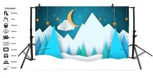 Image 3 - Laeacco bebé Comics montaña Luna estrella nieve fiesta patrón fondos fotográficos foto telón de fondo estudio fotográfico Photocall