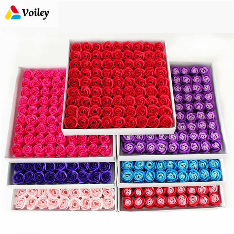 81 Pcs/Box Handmade Rose Soap Artificial Dried Flowers Mothers Day Wedding Valentine's Day Christmas Gift Decoration for Home,W
