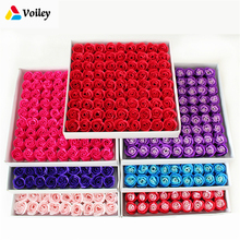 81 Pcs/Box Handmade Rose Soap Artificial Dried Flowers Mothers Day Wedding Valentines Day Christmas Gift Decoration for Home,W