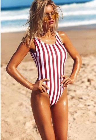 a7908e80ad8 Detail Feedback Questions about Hot Sell Women Red Striped One Piece  Swimsuit Bathing Suit Swimming Costume Padded Swimsuit Monokini Swimwear  Push up ...