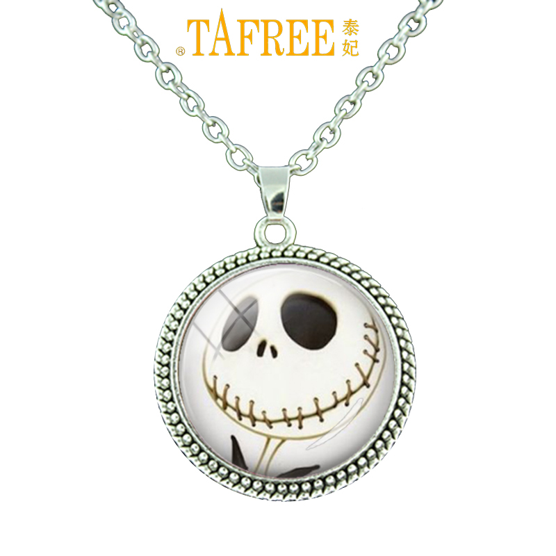 TAFREE Jack Skellington Nightmare Before Christmas Pendents Necklace Antique Silver/Bronze Plated Choker Necklace Jewelry N 408