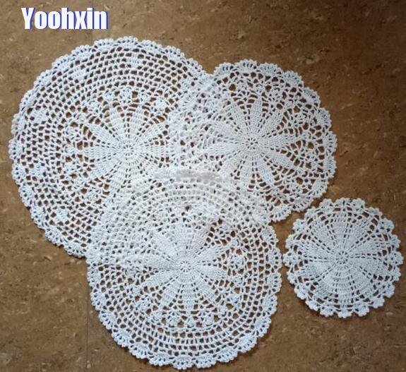 Table Decoration & Accessories Hot Round Cotton Placemat Cup Coaster Mug Kitchen Pan Christmas Table Place Mat Cloth Lace Crochet Tea Coffee Dish Doily Pan Pad Convenience Goods