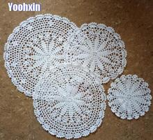 HOT Lace Round cotton table place mat dish pad Cloth crochet placemat cup mug wedding tea coffee coaster handmade doily kitchen