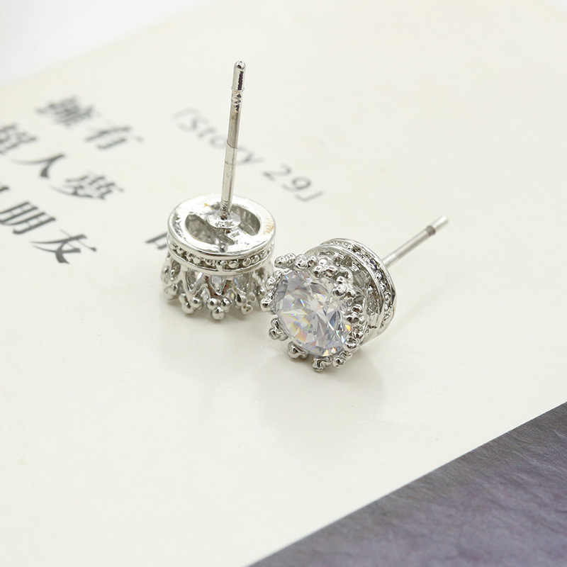 Pendientes de plata de circonita cúbica de 2 quilates redondos de joyería de moda de Plata de Ley 925 para mujer