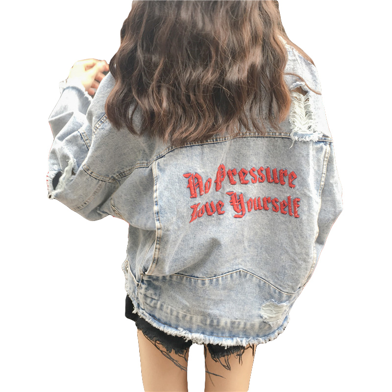 Fashion Embroidery Ripped Hole Burr Jean   Jacket   Womens Denim Coat 2019 Spring Women   Basic     Jacket   Streetwear Long Sleeve Outwear