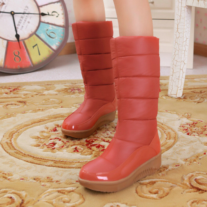 Size 35-40 Winter Ladies shoes Casual Slip On Round Toe Down Flock Mid Calf Boot Fashion Snow Boots Woman Shoes Colour Orange