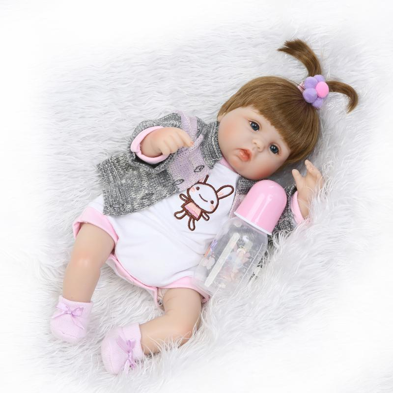 Handmade 17 Inch reborn dolls lifelike silicone soft newborn baby doll realistic boy babies gift for children Christmas gifts 18 inch dolls handmade bjd doll reborn babies toys for children 45cm jointed plastic toy dolls for girls birthday gifts juguetes