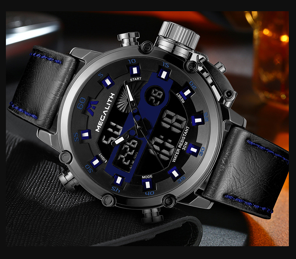 Relogio Masculino MEGALITH Sport Waterproof Watches Men Luminous Dual Display Alarm Top Brand Luxury Quartz Watch Wholesale 8051